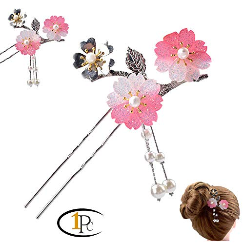 FINGER LOVE Acrylic 2-Prong Hair Stick Fork Hairpin with Gradient Flower Cluster & Faux Pearl Tassels (C Pink)