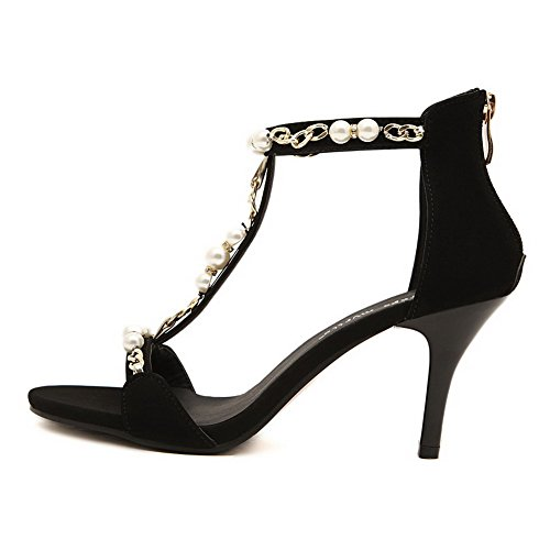 High Black Heels Women's Zipper Imitated Toe Solid Sandals AgooLar Open Suede ZwTgPq