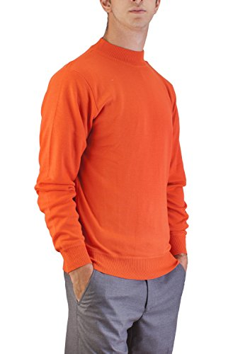 Mens Turtleneck Cotton Interlock (Alberto Cardinali Men's Mock Neck Sweater MC5 (Small Orange))