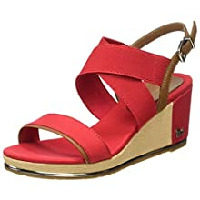 Tommy Hilfiger TH Hardware Basic Mid Wedge, Sandalias Punta Cerrada para Mujer, Rojo (Primary Red XLG), 37 EU