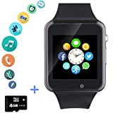 Smartwatch Smart Watch Phone with SD Card Camera Pedometer Text Call Notification SIM Card Slot Music Player Compatible for Android Samsung Huawei LG and IPhone (Partial Functions) for Men Women Kids