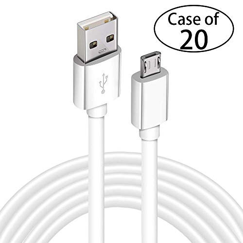 Case of 20, DEEGO Micro USB Charging Cable,15ft PS4 Controller Charger Cable for Playstation 4 Dualshock 4 PS4 Slim/Pro Controller,Android Devices,Samsung,Games,MP3 Players-White