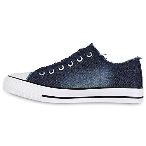 Denim Flandell Übergrößen Herren Damen Sneaker Dunkelblau Unisex Weiss low Stiefelparadies 7Yx06pnn