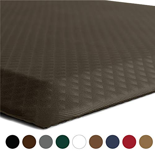 """KANGAROO BRANDS Original 3/4"""" Anti-Fatigue Comfort Standing Mat Kitchen Rug (70x24), Phthalate Free, Non-Toxic, Waterproof, Ergonomically Engineered Floor Pad, Rugs for Office Stand Up Desk (Brown)"""