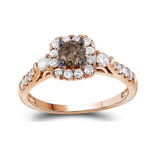 Jewel Tie - Size 11 - Solid 14k Rose Gold Round Chocolate Brown Diamond Solitaire Bridal Engagement Ring Wedding Band Set 3/4