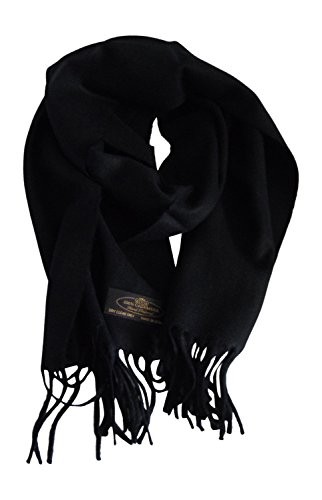 Annys Super Soft 100% Cashmere Scarf 12 X 72 with Gift Bag (Black) by Anny's
