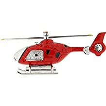 Miniature Helicopter Novelty Silver & Red Tone Collectors Clock 0608