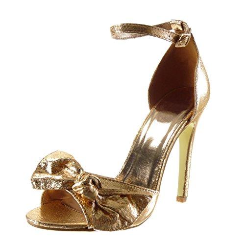 Angkorly - Chaussure Mode Sandale Escarpin sexy stiletto femme noeud papillon brillant lanière Talon haut aiguille 11 CM - Champagne