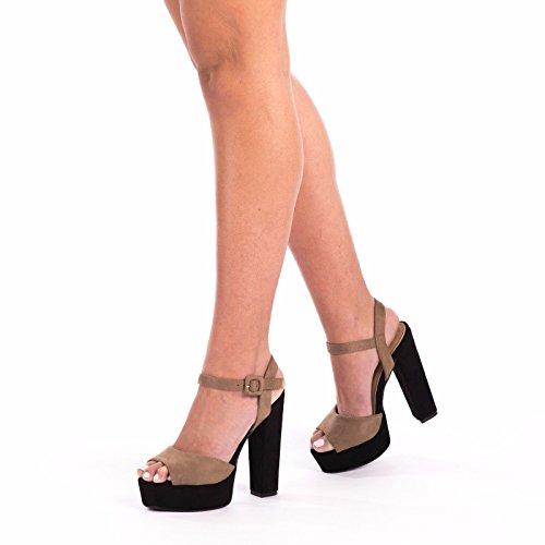 SnobUK - Sandalias de vestir de ante sintético para mujer caqui