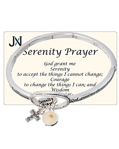 Jewelry Nexus Serenity Prayer Engraved Cross & Mustard Seed Charm Stretch Bracelet