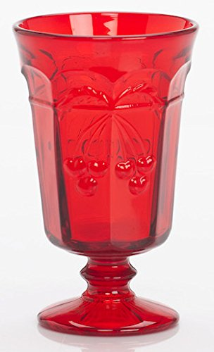Northwood Green Carnival Glass - Goblet - Cherry & Cable Pattern Mosser Glass USA (Red)