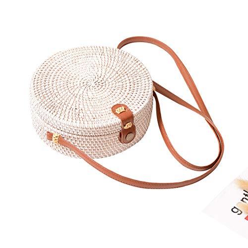 cheerfullus Chic Bohemian Rattan Woven Round Summer Beach Shoulder Bag Retro Crossbody Bag with Leather Strap - White ()