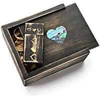 NightShade Black 16GB USB Flash Drive- 3 Hearts Design - With Abalone (paua) Inlaid Mother of Pearl Heart Box in Raffia Grass.