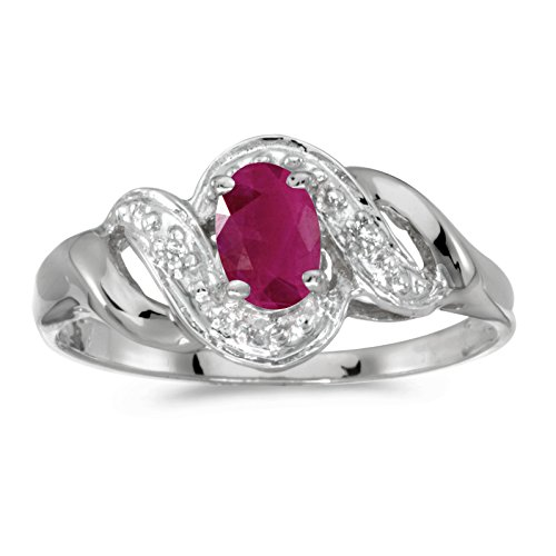 Jewels By Lux 10k White Gold Oval Ruby And Diamond Swirl Ring Size 7 ()