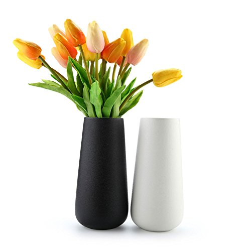 Porcelain Garden Vases - T4U 7.5'' Cylinder Ceramic Flower Vase Home Décor Vase for Floral Arrangement Set of 2