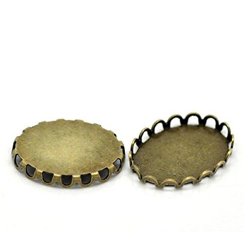 (HOUSWEETY 30PCs Bronze Tone Oval Cabochon Frame Settings 19x14mm(Fit 18x13mm))