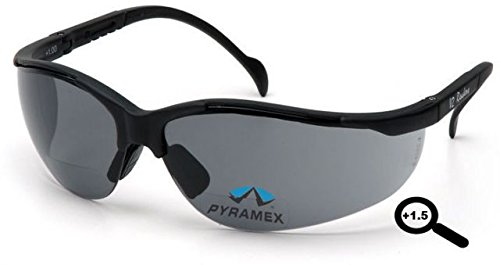 Pyramex V2 Readers Glasses - Gray + 1.5 Lens, Black Frame