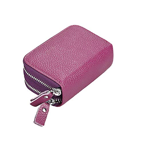 Mengshen RFID Blocking Women Wallets, Excellent Credit Card Holder with Double Zipper Super Large Capacity, PX09 Purple