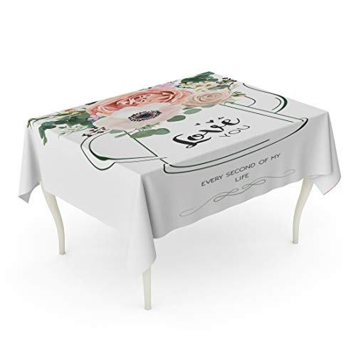 Tarolo Rectangle Tablecloth 60 x 84 Inch Floral Elegant Rose Peach Flower White Wax Anemone Green Eucalyptus Greenery Berry Bouquet in Line Kettle Vase Rustic Wedding Table Cloth