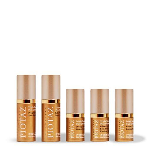Jacqueline Piotaz The Petite Collection Travel Set Renews, and Illuminates Skin to Restore Glow Advanced Formula   Cleanser (10 ml), Tonic (10 ml), Anti-Aging Creams (5 ml), and Serum (5 ml)