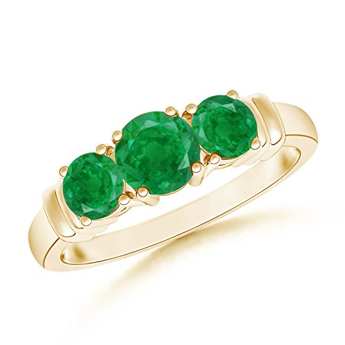 May Birthstone - Vintage Style Three Stone Emerald Wedding Ring for Women in 14K Yellow Gold (5mm Emerald) by Angara.com