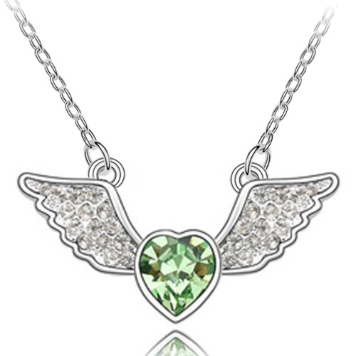 Angel Heart Swarovski Elements Heart Shaped Crystal Rhodium Plated Necklace - Green