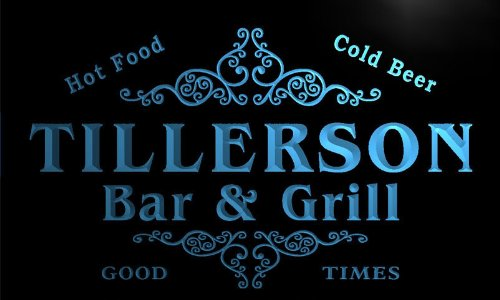u44993-b TILLERSON Family Name Bar & Grill Home Decor Neon Light Sign