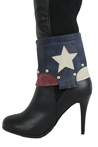 Gold American Flag Charm (TFJ Women Boot Bracelet Gold Metal Chains Bling Western Fashion Shoe Charm Texas Star USA Flag Strap)