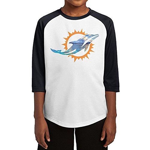 SLCG Youth Boys Raglan Tee Baseball Shirt Miami Sport Footballdolphin Black Size M