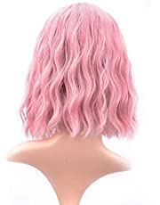 (Pink) - VCKOVCKO Pastel Wavy Wig With Air Bangs Women's Short Bob Pink Wig Curly Wavy Shoulder Length Pastel Bob Synthetic Cosplay Wig for Girl Colourful Costume Wigs(30cm , Pink)