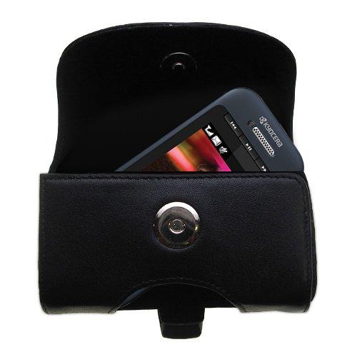 (Designer Gomadic Black Leather Kyocera X-TC Belt Carrying Case – Includes Optional Belt Loop and Removable Clip)