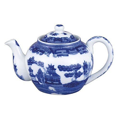 (HIC Harold Import Co. 3723 HIC Blue Willow Teapot, Fine White Porcelain, 3-Cup, 16-Ounce,)