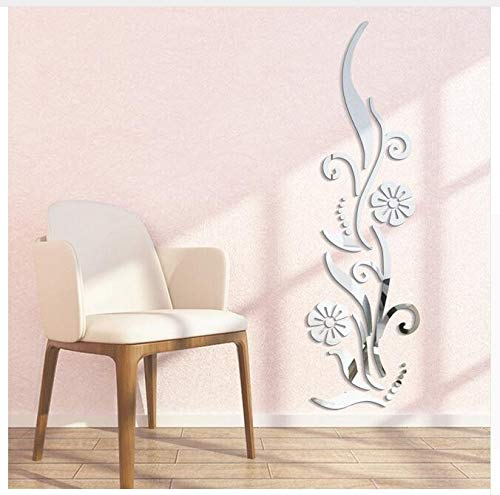 Ayzr Creative DIY Flower Poster Decorative Rambling Vine Acrylic Mirror Wall Stickers Home Wall Decor 3D Room Decoration Decals,Silver ()