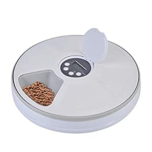 Timed Cat Feeder, AUOKER Intelligent Automatic Cat Feeder with Programmable Digital Timer, Timing Quantitative 6 Meal… Click on image for further info.