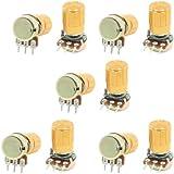 uxcell 10 Pcs 10K ohm 3 Pins 6mm Split Shaft Rotary Linear Taper Potentiometers w Knob