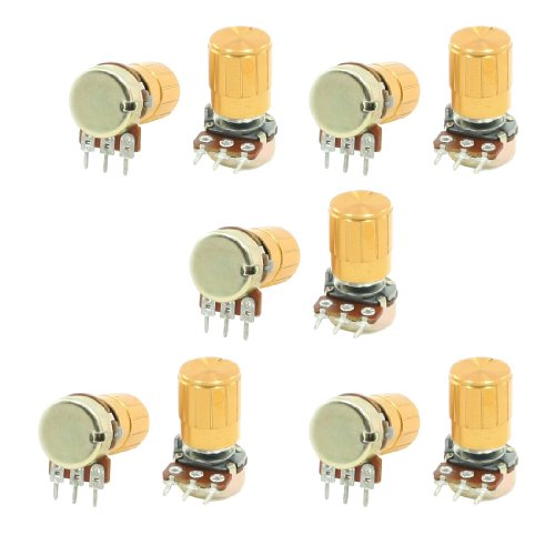 42 3 Pins Split Shaft Rotary Linear Taper Potentiometers with Knob, 10 Kohm, 10 Piece, 6 mm ()