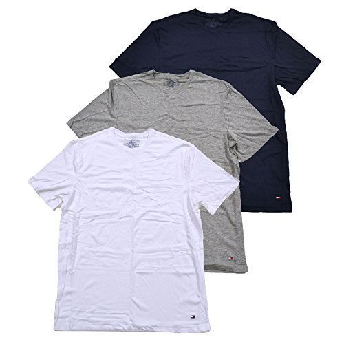 Tommy Hilfiger Mens 3 Pack Crew Neck Undershirts (L, White Grey - Tommy Hilfiger England