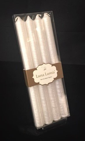 Luna Lumia Stunning Dinner Tapers, Wedding Taper Candles, Smokeless Candles Real Wax Taper Candles - Hanukkah Candles - Christmas Candles (Set/4 Glittery Spun Tapers, White)