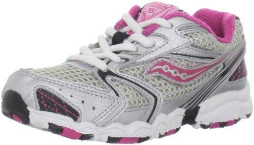 Saucony Cohesion 5 LTT Running Shoe (Toddler/Little Kid/Big Kid),Silver/Pink,4.5 M US Toddler