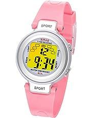Kinder Digitaluhren, 7 Farben LED-Licht Kinder Sport Armbanduhr Jungen Wasserdicht Kinderuhr mit Alarm Stoppuhr, Kinderuhren Outdoor Armbanduhr für Jungen Mädchen