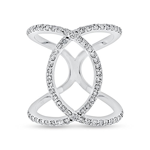 - 0.74 CT Natural Diamond Double Circle Loop Ring in Solid 14k White Gold