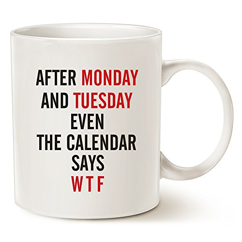 MAUAG Funny Quote Coffee Mugs, Monday, Tuesday, W T F Best Christmas Gifts for Office Co-worker, Working Women Porcelain Cup, White 11 Oz by (Cheap Christmas Mugs)