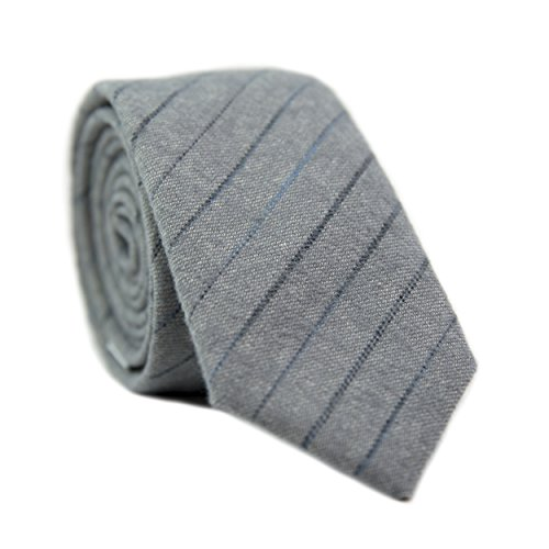 DAZI Men's Skinny Tie, Cotton Wool Linen Necktie, Great for Weddings, Groom, Groomsmen, Missions, Dances, Gifts. (Nightwalk) by DAZI (Image #2)