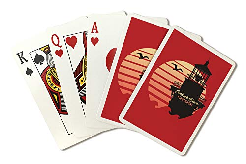 Corolla, North Carolina - Currituck Beach Lighthouse - Vector Lighthouse and Sun 96243 (Playing Card Deck - 52 Card Poker Size with Jokers)