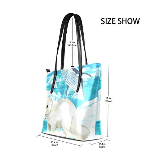 COOSUN Polar Fox und Wal PU Leder Schultertasche Handtasche und Handtaschen Tote Bag für Frauen