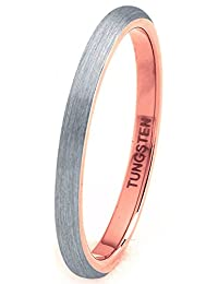 Tungsten Wedding Band Ring 2mm for Men Women Comfort Fit 18K Rose Gold Plated Domed Brushed