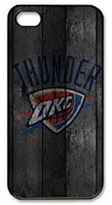 LZHCASE Personalized Protective Case for iPhone 5 - NBA Oklahoma City Thunder in Wood Background