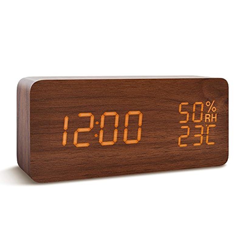 눈(째) 가쿠 하여 시계 FIBISONIC 탁상시계 멋쟁이 선물 목제 디지탈 LED 대음량 알람 캘린더부 기온 습도 음성 감지 USB/전지 우드 내츄럴풍(화이트)