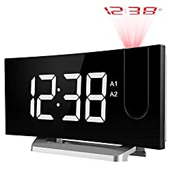 TOPELEK Projection Alarm Clock, Digital Alarm Clock with 3 Alarm Voice, Dual Alarm, 7'' Curved-Screen FM Radio Alarm Clock with Dimmer, Snooze Mode, Sleep Timer, USB Charging Port, White