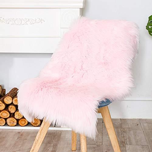 Carvapet Luxury Soft Faux Sheepskin Chair Cover Seat Cushion Pad Plush Fur